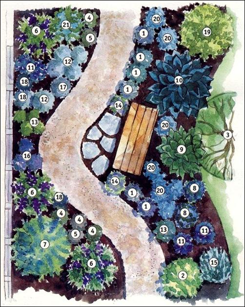 Схема посадки растений для бело-голубого садика