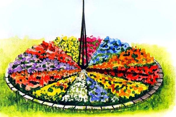 Время цветов клумба цветочные часы