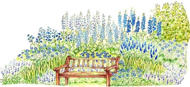 Миксбордер с синими цветами